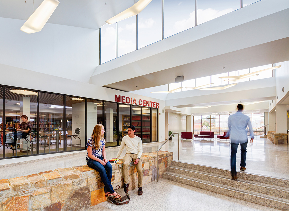 Social engagement and flexible learning are prominently displayed in the addition's four-story vertical learning environment, foregrounding a new civic presence and showcasing Fauquier County's commitment to educational excellence.