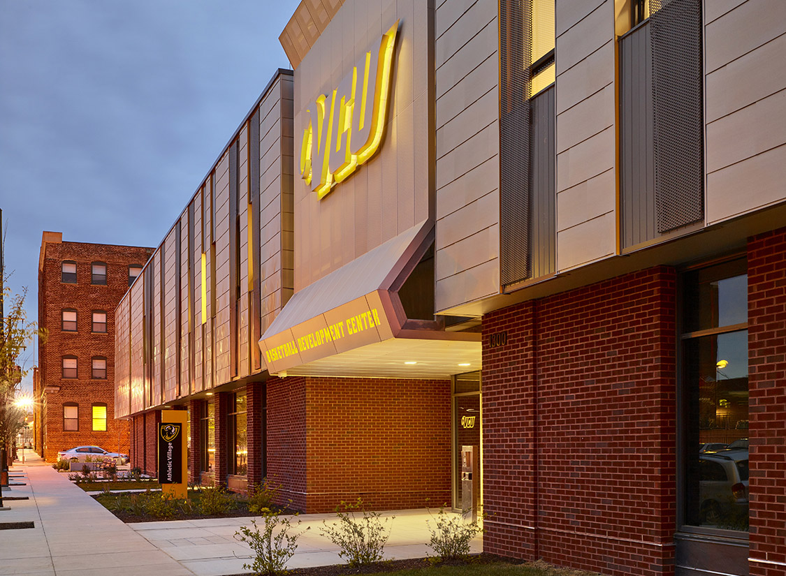 Located on West Marshall Street, north of the Siegel Center, the VCU Basketball Practice Facility provides both the men's and women's programs with state-of-the-art facilities in one 62,000 square foot, two-story building that will aid in recruiting and player/team development.