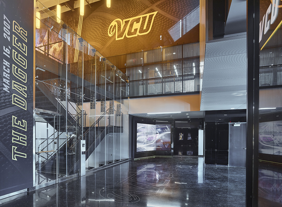 The EGD Team worked closely with the architecture team and VCU to strategically scope the comprehensive signage and graphics package of the new Basketball Development Center.
