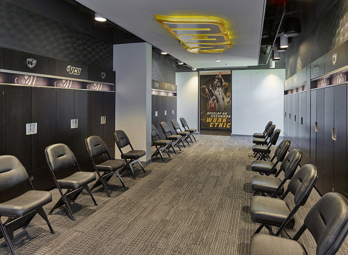 The design celebrates the activities within the facility and strives to connect fans and passersby to the VCU Rams basketball programs.