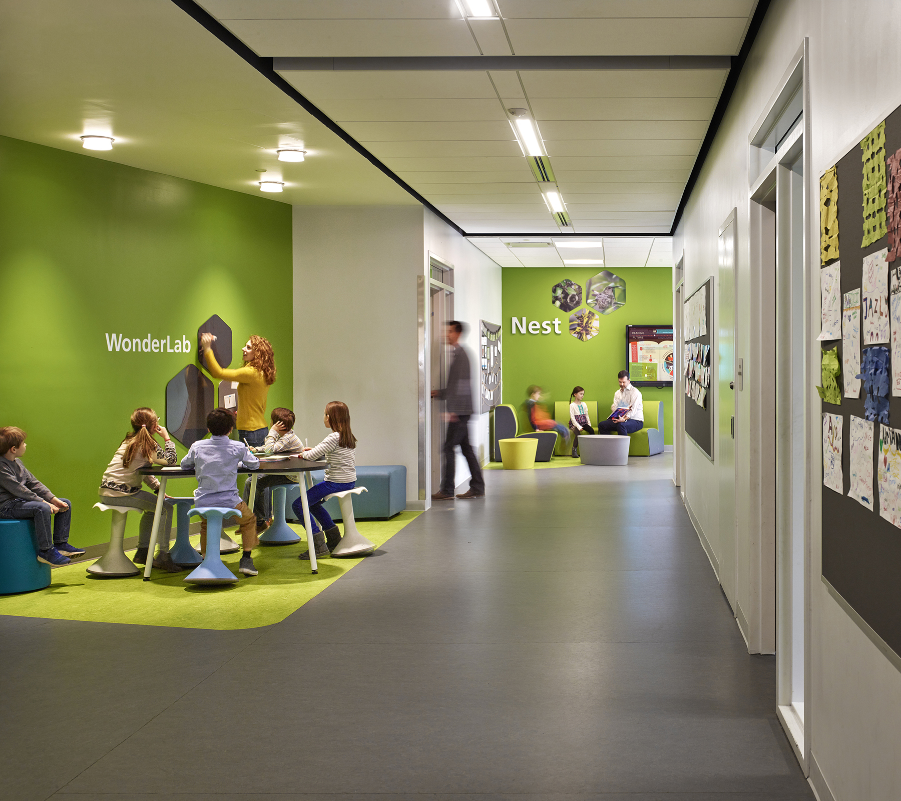 "The elementary school features 3 floors, including 42 classrooms subdivided into innovative ""learning neighborhoods"" which will encourage collaboration and novel curricular arrangements that support teaching and learning, while allowing for flexibility in how the building is used."