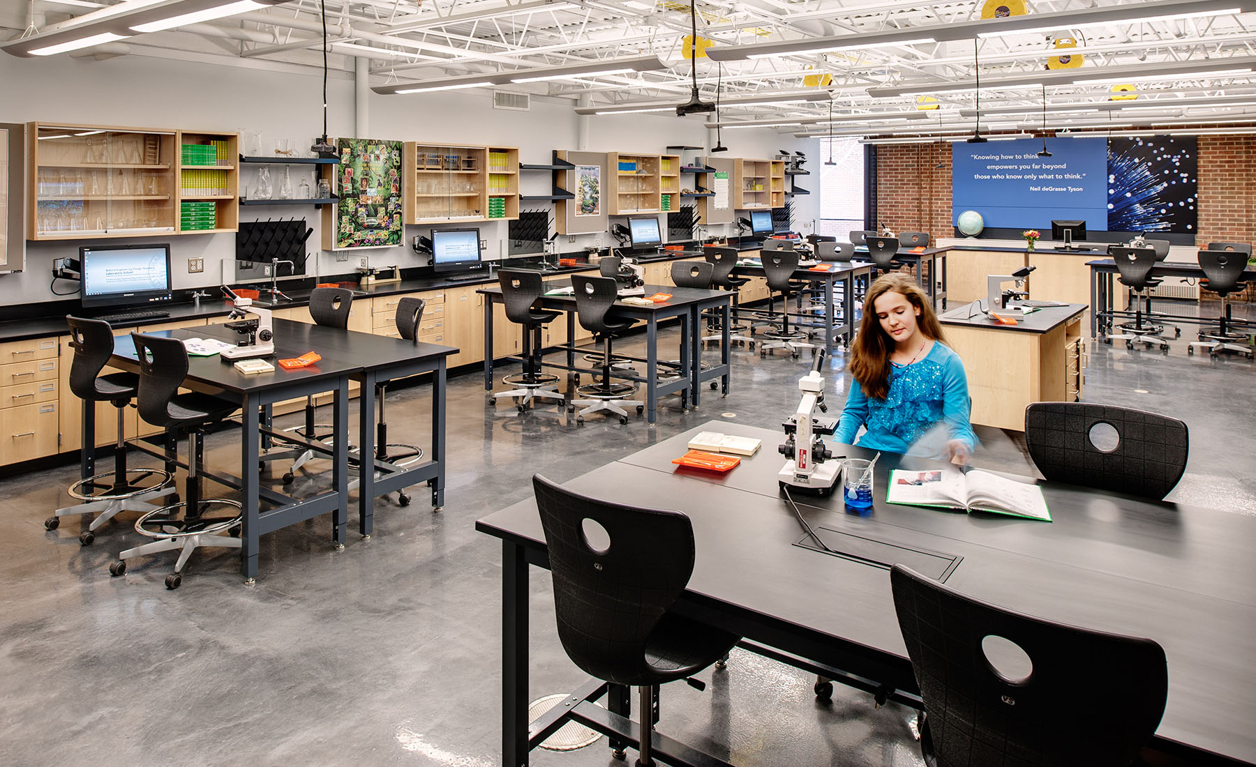 The six lab stations found in each of the four labs feature a digitally-controlled die-cutter, 3-D printer and an all-in-one, wall-mounted computer that pivots in three directions for optimal support of student collaboration.