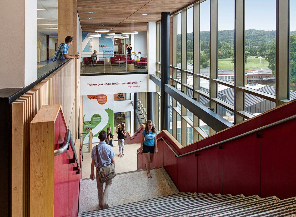 The renovation of Fauquier High School included the addition of a four-story academic wing that provides a range of flexible 21st-century learning spaces connected by a monumental central stair. The design of this four-story addition draws inspiration from a set of active design guidelines (first implemented by New York City in 2010) that encourages movement and active utilization of the built environment to bolster the health of students, staff, and faculty.