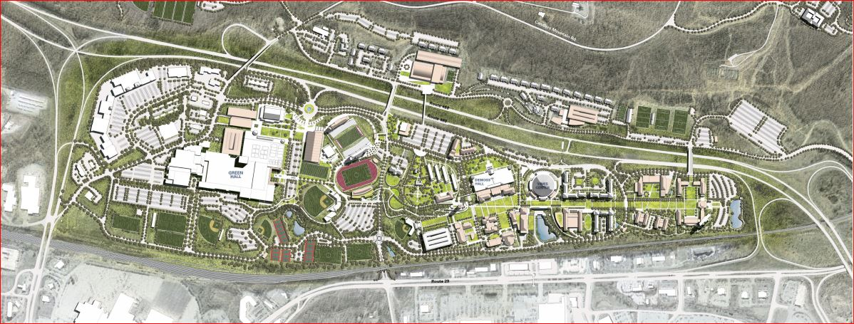 The plan organizes the many previously fractured aspects of campus life into a cogent assembly of quads, academic facilities, and student amenities, all connected by a new 1.5-mile-long accessible campus walk.