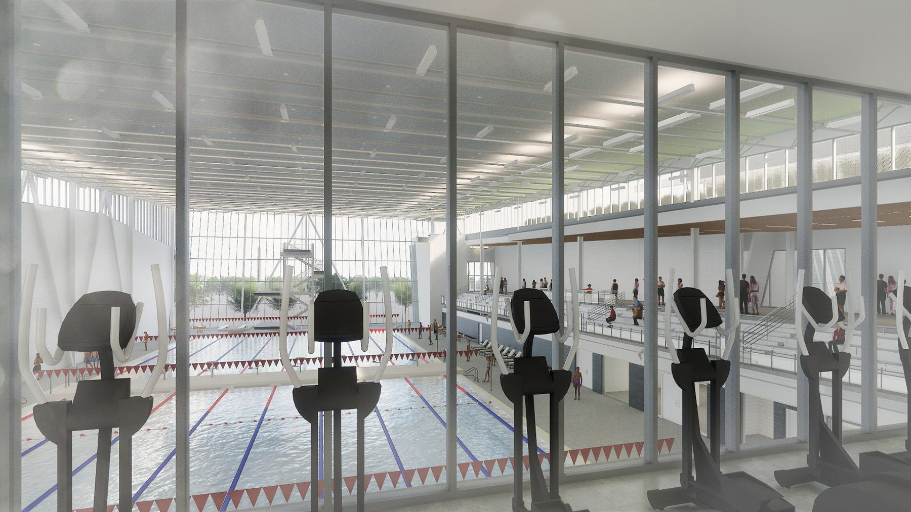 This facility will feature a 50‐meter pool with a 500-seat bleacher, a combination of play and teaching pool, approximately 10,000 SF of health and fitness space, administrative offices, and community rooms.