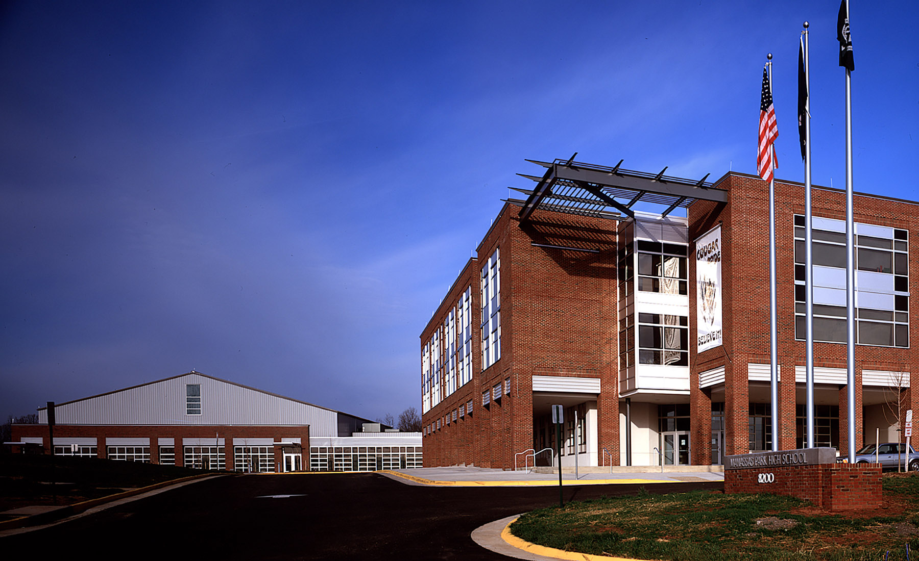 Manassas Park High School represents a comprehensive reinvention of local public education. The school supplements the middle school—to create an academic campus that serves as a civic focal point.