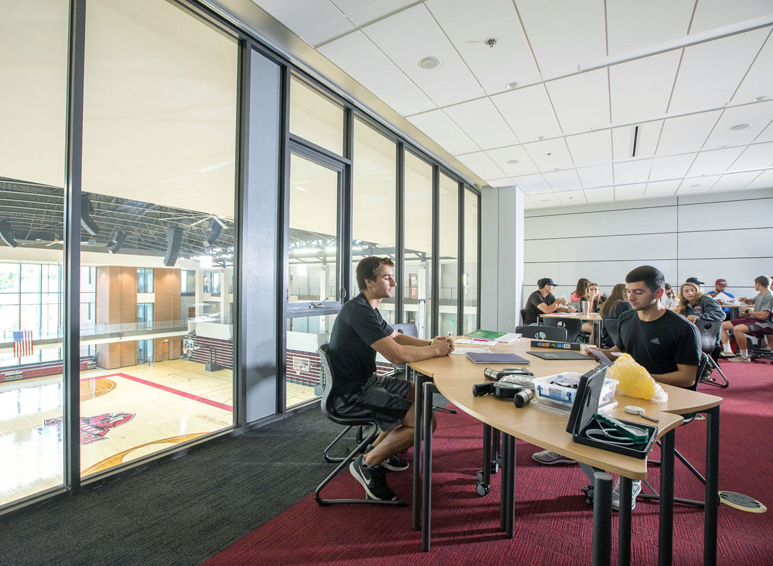 Depending on the needs of the College, classrooms overlooking the Arena can double as a study / lecture area for the HHP department or a dining / reception space for students, athletes, donors, or community members on game days.