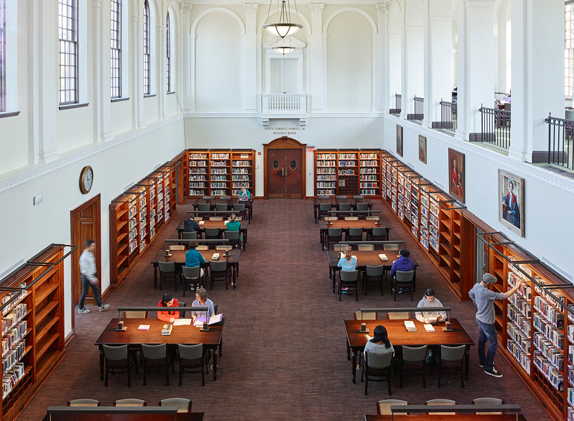 Its handsome central reading room remains the only fully intact Cram-designed interior on campus.
