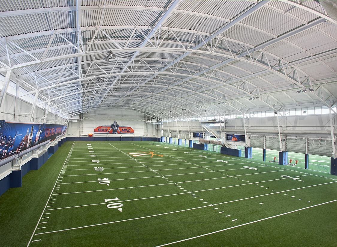 The University of Virginia's Indoor Practice Facility houses a full-size 100-yard artificial turf football field with two end zones and five-yard run-offs and accommodates a 65-foot clear height in the center for kicking.