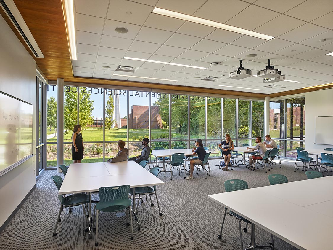 Formal and informal group study spaces are located throughout the building. These classrooms and common spaces will be accessible to non-science majors and provide opportunities for all students to develop a closer connection to the sciences.