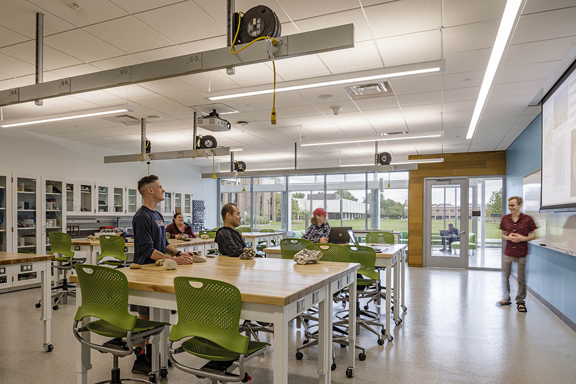"The Greer Environmental Sciences Center will embody ""science on display"" with fully glazed walls on the north side of classroom laboratories, exposing science and scientific exploration. Strategically-placed sustainable features will be accessible to students who will observe and monitor the building's use of energy, water, and material resources."